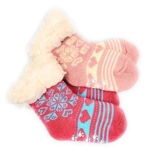 2 Paar Baby Hütten Socken Kinder Home Socks mit Teddyfutter Kuschelsocken Lammfellimitat ABS-Sohle (5552, 0-12 M, Seit 2)