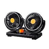 Bestland Doppelkopf-Fahrzeug-Ventilator 24V Auto Kfz Ventilator mit 360-Grad-Drehung 2Speed starker Wind