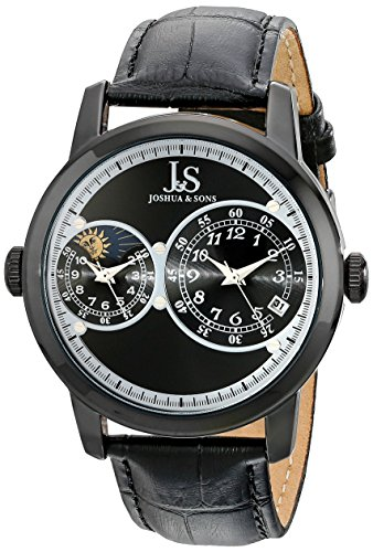 Joshua & Sons Men's JS87BK Black Watch with Black Leather Band