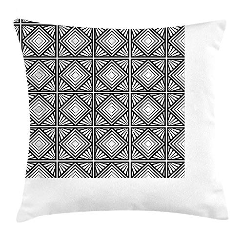 Contemporary Throw Pillow Cushion Cover by, Monochrome and Geometric Mosaic Composition with Squares Diamond Shapes, Decorative Square Accent Pillow Case, 18 X 18 Inches, Black and White Besten Bikes Buffalo