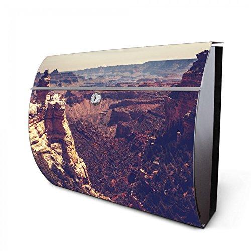 Canyon Schlüssel (Design Edelstahl Briefkasten, Designer Wandbriefkasten halbrund kaufen, für A4 Post, rostfrei, 2 Schlüssel Briefkastenschloss, von Banjado Motiv Canyon)