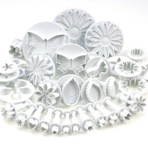 Ensemble de 33 ustensiles pour décoration de gâteau / emporte-pièces avec poussoirs/ tampons fleurs, feuilles et diverses formes par DIKIT TM