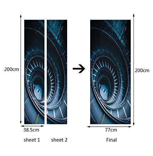 Pegatinas de puerta 77X200Cm 3D Escalera de caracol Etiqueta de la puerta de la pared Papel tapiz mural Etiqueta de la pared Calcomanía Decoración autoadhesiva