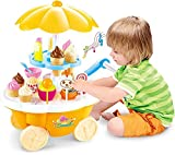 #1: Kids Choize Ice Cream Kitchen Play Cart Kitchen Set Toy with Lights and Music, Yellow