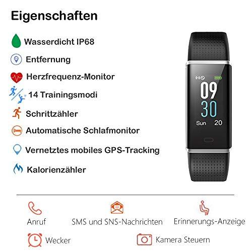 Willful Fitness Armband mit Pulsmesser,Wasserdicht IP68 Fitness Tracker Farbbildschirm Aktivitätstracker Pulsuhren Schrittzähler Uhr Smartwatch für Damen Herren - 2