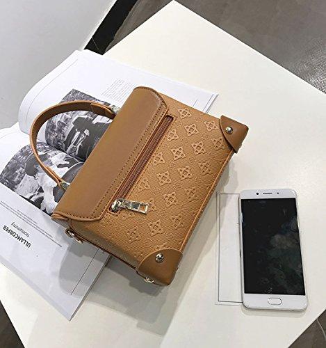 Damen-Hardware-Sperre Geprägt Handgehaltenen Kleine Quadratische Tasche Schulter Messenger Bag Khaki