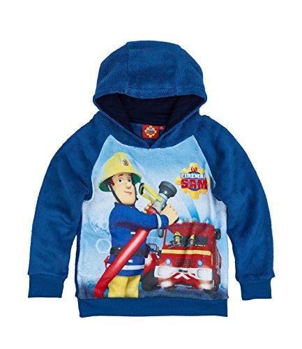 Feuerwehrmann Sam Jungen Sweatshirt mit Kapuze aus Teddy Vlies - blau - 110
