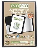 Eco-Eco, raccoglitore con 20 buste trasparenti in formato A2, realizzato al 50% con materiale riciclato, nero