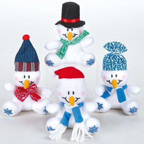 Baker Ross Mini Bean Pals Schneemann aus weichem Plüsch für Kinder als kleine Überraschung zu Weihnachten (4 Stück)