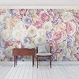 Vliestapete - Pastell Paper Art Rosen - Fototapete Breit Vlies Tapete Wandtapete Wandbild Foto 3D Fototapete, Größe HxB: 190cm x 288cm