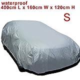 MultiWare Auto Abdeckung Autogarage Ganzgarage Abdeckung Abdeckplane Autoplane Wasserdicht UV Sonne Regen Schutz Silber S:400*160*120CM