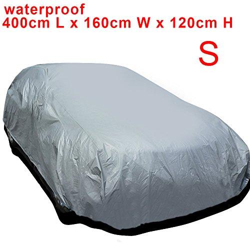 AllRight Auto Abdeckung Autogarage Ganzgarage Abdeckung Abdeckplane Autoplane Wasserdicht UV Sonne Regen Schutz Silber S:400 * 160 * 120CM