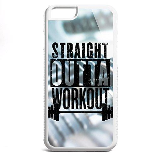 Smartcover Case Straight outta Workout black z.B. für Iphone 5 / 5S, Iphone 6 / 6S, Samsung S6 und S6 EDGE mit griffigem Gummirand und coolem Print, Smartphone Hülle:Iphone 6 / 6S weiss Iphone 6 / 6S weiss