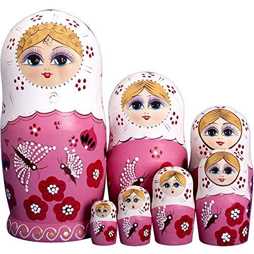 RAILONCH 7 Stücken Matroschka Handgemacht Das Lindenholz Geschenk Spielzeug Dolls Marionette Geschenk (Russische Matroschka Kostüm)