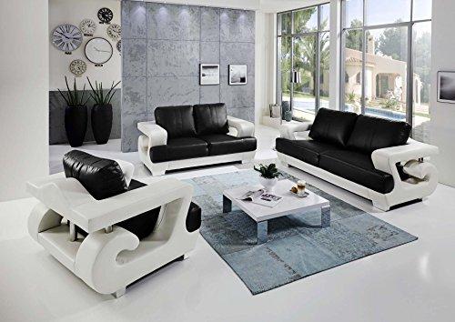 SAM 3tlg Sofa Garnitur Antonio Couchgarnitur 3 Sitzer 2 Sitzer Sessel in weiß schwarz mit SAM-Lederimitat