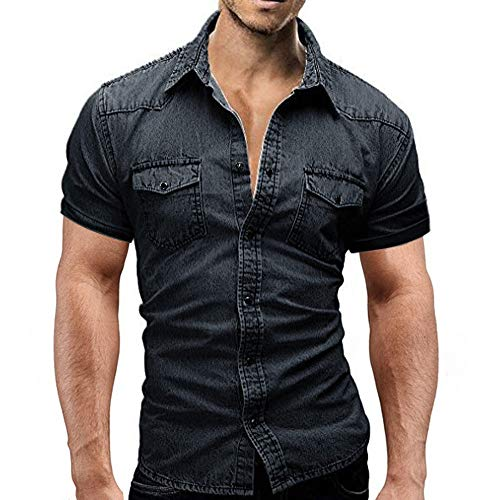 Button-down-jeans (Herren Jeanshemd Stehkragen Funktionsshirt Button-Down Jeans Retro Hemd Business Hochzeit T-Shirt Sommer Kurzarm Shirt Casual Slim Fit Blau Freizeithemd)