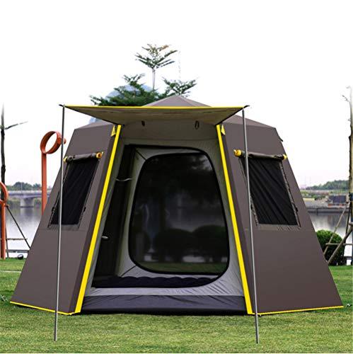 DGDD UV Sechseck Aluminium Pole Automatische Outdoor Camping Wild Big Zelt 3-4 Personen Markise Garten Pergola 330 * 330 * 195 cm,Brown -