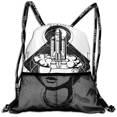 Drawstring Backpacks Bags,Science Monochrome Illustration with Rocket Flying from A Head of Woman,5 Liter Capacity,Adjustable -