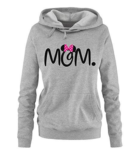 Comedy Shirts - MOM. Minnie - Damen Hoodie - Grau/Schwarz-Pink Gr. S