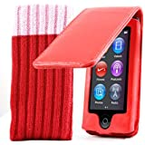 Kolay - Étui à rabat en cuir et poche de rangement pour lecteur, pour Apple iPod Nano (7e génération)