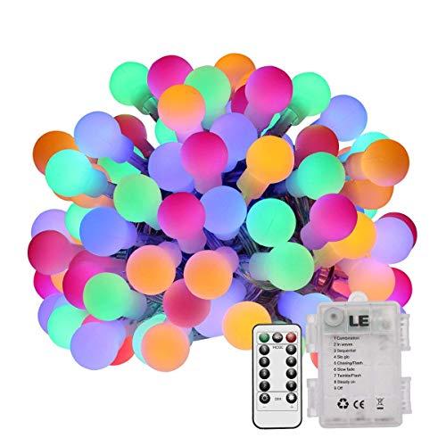 LE Stringa luminosa LED con palline, 5m Multicolore 8 Modalità luce Impermeabile IP44 3 batterie AA Telecomando Funzione Timer e Memoria Catena luminosa Luce Natale Capodanno Illuminazione interni