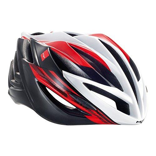 Met Forte Casco De Ciclismo, Unisex Adulto, Rojo,Blanco,Negro, 52-59 cm