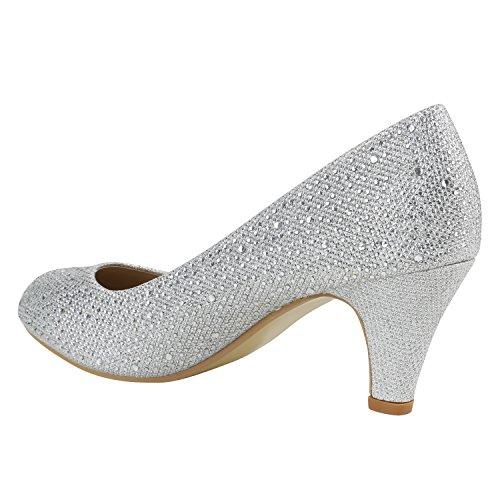 Klassische Damen Pumps | Stilettos Abendschuhe | Lederoptik Glitzer Metallic Lack | Schleifen Tanzschuhe Brautschuhe Silber Strass
