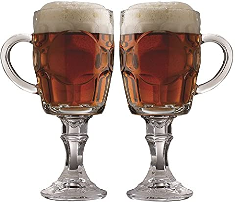 Circleware Uptown Set of 2 Footed Clear Heavy Base Beer Glasses with Handles, Huge 20 Ounce, Limited Edition Wine Whiskey Scotch Beverage Drinking Mason Glass Beer Mug on