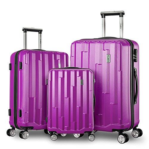 Trolley Koffer Hartschalen-Koffer Kofferset Leichter Rollkoffer kratzfester Reisekoffer aus ABS und Stahl Handgepäck mit 4 Doppel-Rollen (XL-L-M Set) (Lila)