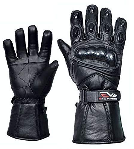 Evo Neu Ledertasche Motorrad Heavy Duty Wasserfest Winter Thermo Kohlefaser Gehäuse Handschuhe - L