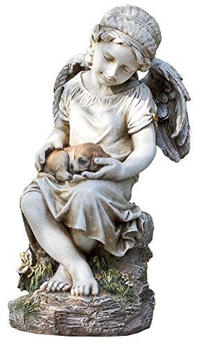 Napco 17785Engel hält Hund in Lap Garten Statue, 41,9cm (Hund Engel Figur)