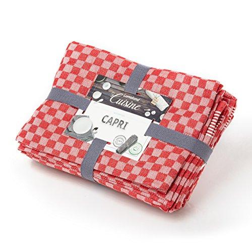 Lumaland Geschirrtücher Capri Serie in zwölf Farben 10 Stück pro Set 100% Baumwolle 46 x 70 cm Rot - Weiß (Rot Geschirrtuch)