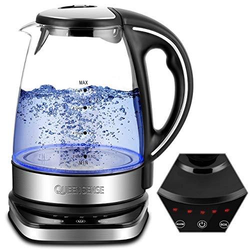 QUEENSENSE Wasserkocher Glas Teekocher mit Temperatureinstellung(40-100) Grad Kettle LED BPA Frei Temperaturstufen 1.7L Borosilikatglas Teekessel 2200W -