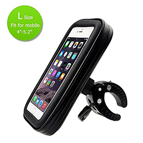 N.ORANIE Bike Phone Holder with Waterproof Cycling Frame Bag Bicycle Phone Mount Transparent Touchable Pouch Case 360° Rotatable for Smartphones GPS and Other Compatible Devices(Black, L Size)