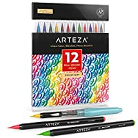 Arteza Real Brush Pens, 12 Paint Markers with Flexible Brush Tips, Professional Watercolour Pens for Painting, Drawing, Colouring & More, 100% Nontoxic, Multiple Colours
