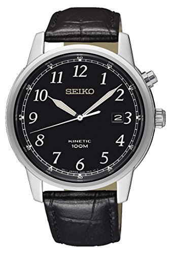 Seiko Herren Analog Kinetik Uhr mit Leder Armband SKA781P1