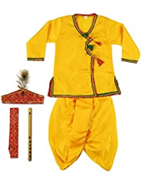 Sajani Boys and Girls Dhoti Kurta Krishna Kids Costume Ethnic Wear Dress (Pack of 5 - Kurta, Dhoti, Bansuri, Mor Pankh Mukut, Bandhni Patka)(Yellow)
