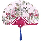 SLB Works Bamboo Frame Floral Print Summer Chinese Craft Tassel Hand Folding Fan Colorful