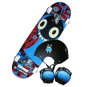 Kit skateboard Monster - planche/genouillères/coudières/casque - enfant - 71 cm