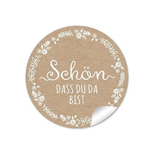 """48 STICKER:\""""Schön, dass du da bist\"""" in NATUR/Kraftpapier Look im Shabby Chic Style mit weißer Blütenranke • Hochzeitsmarmelade, Gastgeschenke, für Selbstgemachtes u.v.m. • 4 cm, rund, matt"""
