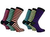 Herren-Socken, Basset, Streifen, Teddy, für Jungen, Rock'n'Roll, für Kostüm, Größen39–45, Neon-Farbe,6Paar