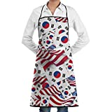 Drempad Delantal South Korea Flag with America Flag Bib Apron Chef Apron - with Pockets for Unisex,Waterproof, Resistant to Droplets, Durable, Machine Washable, Comfortable, Easy Care Apron