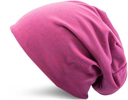 Jersey Baumwolle elastisches Long Slouch Beanie Unisex Mütze Heather in 35 verschiedenen Farben (3) (Pink-Blue)