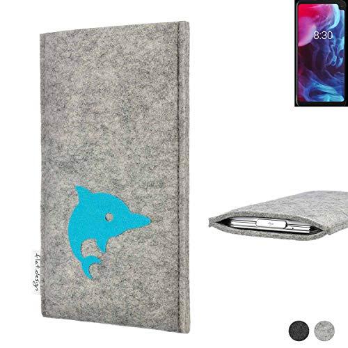 flat.design Handy Hülle für Archos Oxygen 63XL FARO mit Delphin handgefertigte Filz Tasche fair