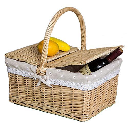 YiYaa Handgefertigt Rechteckig Picknickkorb Aus Wicker,Hochwertiger Weidenkorb,Pastoral Geschenkkorb Warenkorb Portable Korb Obstkorb Bambuskorb -
