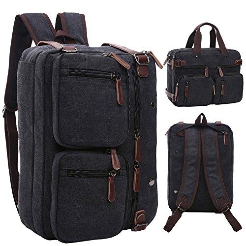 BAOSHA HB-22 Vintage lienzo bolso de mano hombres del maletín mochila Convertible bolsa de ordenador portátil mochila de viaje senderismo mochila marrón café 38.5 x 28.5 x 13 CM (Negro)