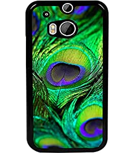 ColourCraft Peacock Feather Design Back Case Cover for HTC ONE M8