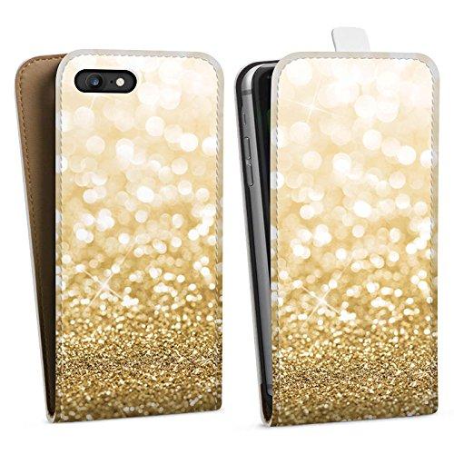 Apple iPhone X Silikon Hülle Case Schutzhülle Glitzer Look Staub Gold Downflip Tasche weiß