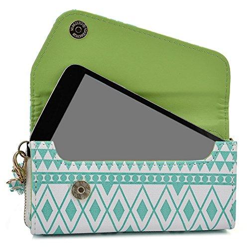 Kroo Housse de transport Dragonne Étui portefeuille pour Blackberry Z3/Z30/passeport noir Mint Blue and White