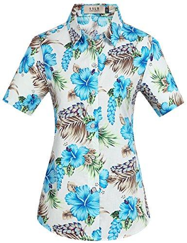 Sslr donna camicia blusa hawaiana aloha manica corta casual button down (x-large, blu)
